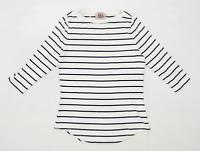 Arabella & Addison Womens Size XL Striped Cotton Blend White T-Shirt (Regular)