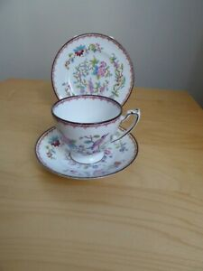 Coalport Pembroke Bird & Floral English Bone China Tea Set Trio