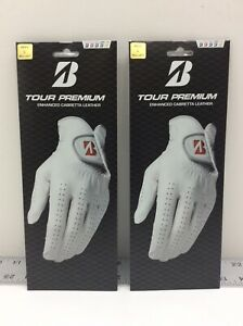 2 - Bridgestone Tour Premium Golf Leather Glove Regular Left Hand White Large