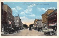 Chanute Kansas 1920s Postcard Main Street Looking West Cars Delivery Truck