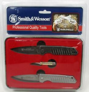 Smith & Wesson Limited Edition 3 Knife Set in Tin Stonewash & Bullet Knives A-3