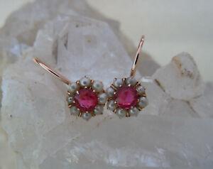 Jugendstil Rubin Perl Ohrringe Ohrhänger Rosé Gold🍀585 14 k,TopZustand⚜️ANTIK⚜️