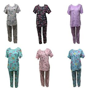 New women fashion flamingo cat coffee multicolor soft pajamas top  pant set