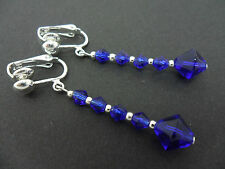 A PAIR OF COBALT BLUE CRYSTAL GLASS BEAD  SILVER  PLATED CLIP ON EARRINGS. NEW.