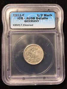 1911 F 1/2 MARK - ICG AU 58 DETAILS - GERMANY - SILVER - #A1006