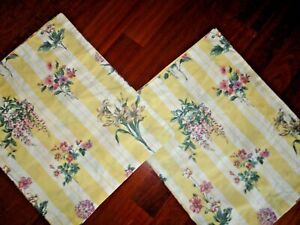 WESTPOINT STEVENS BOTANICAL YELLOW  PINK FLORAL (2) KING PILLOW SHAMS 20 X 36