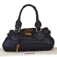 Authentic CHLOE Logo Paddington Shoulder Bag Leather Black Padlock 02MA942
