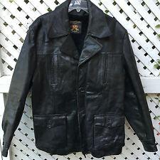 Cabot Genuine Leather Black Coat w Acrylic Pile Lining Men's 44