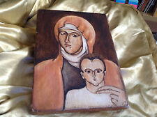 MADONNA & CHILD JESUS HAND PAINTED ON WOOD FROM 1980
