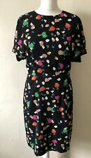Warehouse Multicoloured Shift Dress Size 10 Open Back Fitted Flattering