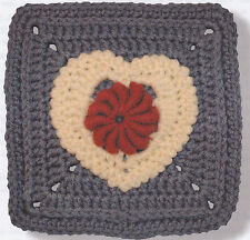 Crochet Pattern ~ LACY BULLION HEART Afghan Square ~ Instructions