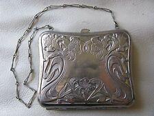 Antique Victorian Art Nouveau Floral Silver T Card Case Compact Coin Clam Purse
