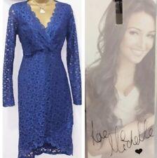 Lipsy Pencil Bodycon Dress 10 Blue Scallop Lace Long Sleeve Midi Party Wedding