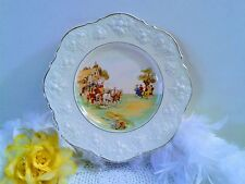 Crown Ducal Ware decor plate, Vtg cream plate with horse carriage scene 1950's