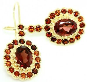 Natural 4.2ct Garnet 9ct 375 Solid Gold Hoop Antique Style Earrings Real Gold