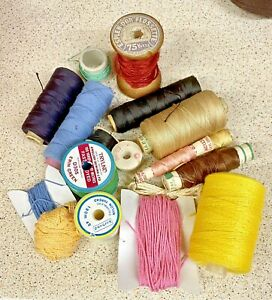 Sewing Thread Spools-Lot 18x-Cotton-Rayon-Silk-Crafts-Machine-Vintage