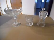 24% Crystal Angel Candlestick & 2 pieces unknown glass Cut ? Vtg Candy Dish?