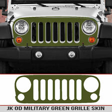 Jeep Grille Skin Military OD Matte Green decal die cut Fits JK Wrangler 07-18