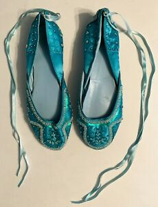 Women's Blue w/ White Beaded Sequin Ballet Style Slippers Shoes w/ Ribbon Ties