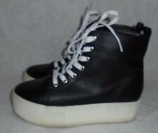 FOREVER 21, LADIES BLACK & WHITE LEATHER LACE UP ATHLETIC SHOE SIZE  7 M