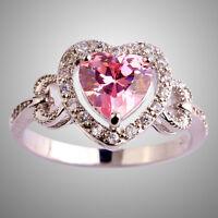 Wedding Heart Cut Pink White Topaz Gemstone Silver Ring Size 6 7 8 9 10 11 12 13