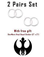 USA Seller 2pair Set Super 12mm Hoop Earrings Sterling Silver 925 Rebel Alliance