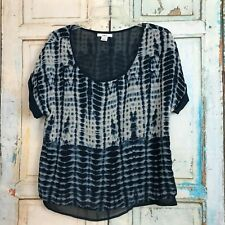 Women's BAR 111 Blue Print Lined Short Sleeve Loose Fitting Blouse Top SIZE S