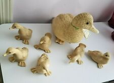 Mommy Duck & her Six Ducklings. From Vincent Giannetto. signed. Resin