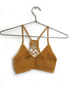 NEW Free People Intimately Seamless Baby RacerBack Bra Gold XS/S-M/L $26  FF-218