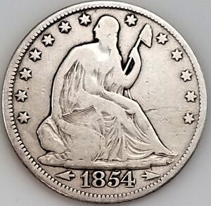 1854 Seated Liberty Half Dollar, Arrows at Date variety!