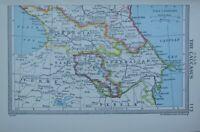 1954 Landkarte ~ Kaukasus Aserbaidschan Georgia Kars Armenien Tbilisi