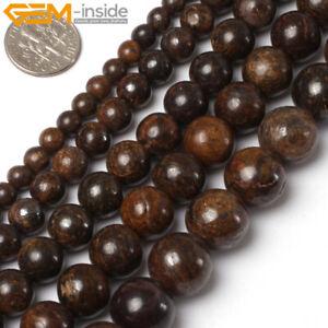 "Natural Bronzite Gemstone Round Loose Beads For Jewelry Making 15"" 6mm 8mm 10mm"