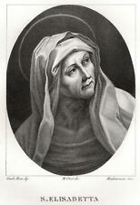 SANTA ELISABETTA Guido Reni Incisione Originale 1800 Saint Elizabeth Etching