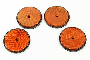 4x Katzenaugen orange  80 mm SCH Reflektoren für Wohnwagen rund Rückstrahler