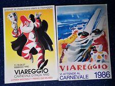 Cartoline Carnevale di Viareggio 1986 e 1990 con annullo dedicato