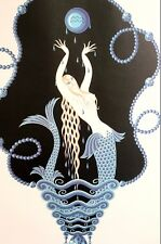 Erte 1982 BIRTHDAY STONE Series - BLUE SAPPHIRE MERMAID September Matted Print