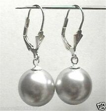 12mm Round South Sea Grey Shell Pearl Beads Drop Earrings Leverbacks Silver