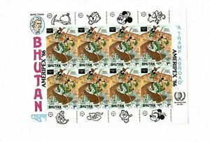 Bhutan 1986 - Disney - Mark Twain - IMPERF Ameripex Overprint Sheet of 8 - MNH