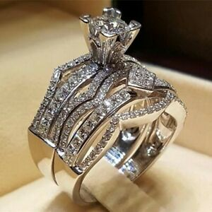 2pcs/set 925 Silver Round Cut CZ Ring Wedding Engagement Jewelry for Women Girl