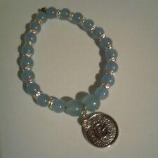 G Charm Aquamarine Gemstone Bracelet
