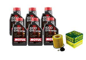 6L Motul 6100 SYNNERGY 5W30 Mann Filter Motor Oil Change Kit For BMW 328i xDrive