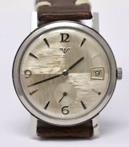 Vintage 1950s Mens Wittnauer 1200 Stainless Steel Wristwatch w/ Textured Dial