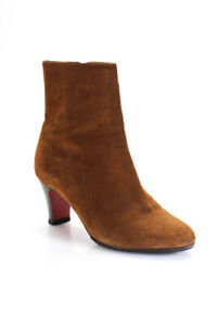 Christian Louboutin Womens Suede High Heeled Ankle Boots Brown 37.5