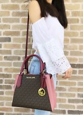 Michael Kors Kimberly Small Satchel Brown MK Signature Mulberry Pink Crossbody