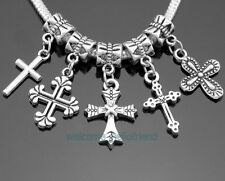 50pcs 5style Mix Tibetan Silver Cross Dangle Charms For European Bracelet #ZY022