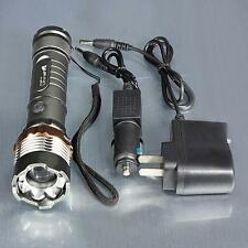 15000LM  CREE XML T6 Rechargeable Zoomable Flashlight+ AC/Car Charger US QT