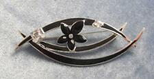 GIVENCHY SILVER PLATED PIN W/ BLACK ENAMEL LEAVES & BLACK & WHITE CRYSTAL FLOWER