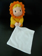 066- DOUDOU AVEC MOUCHOIR COTOONS SMOBY JAUNE ORANGE PETIT LION - EXCELLENT ETAT