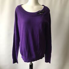 Lauren Ralph Lauren Jumper Pullover Purple 100% Cotton Faux Leather XL 12-14 NEW