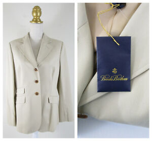 Brooks Brothers Womens Beige Tan Cotton Blazer Size 10 Formal Career NWT $198